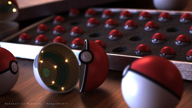 Pokeball in 3D by Kampidh