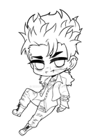Chibi Lineart Commission by Rinnn-Crft