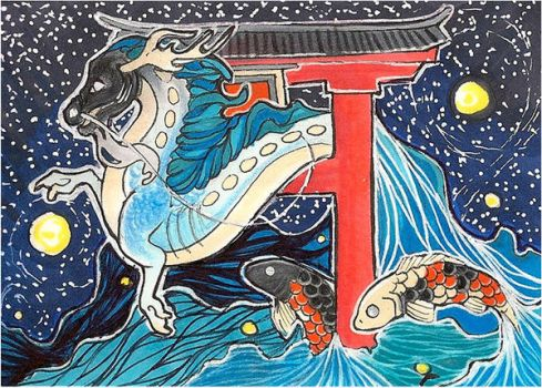 ACEO - The Dragon Gate by awaicu