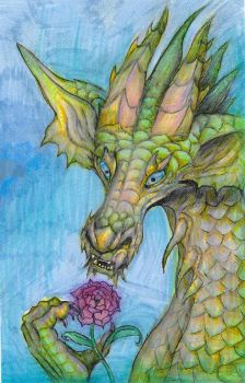 Original Drawing: Nature Dragon (Etsy) (Redbubble) by geck0gir1