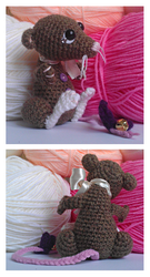 rowan rat amigurumi. art trade. by tiny-tea-party