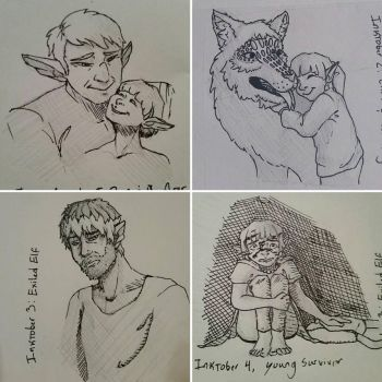 Inktober 1-4  by A-Girl-Named-Chester
