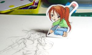 Paper Child: I'm Drawing Here by JurieArt