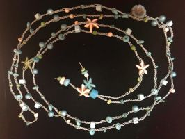 Into The Ocean Crocheted Necklace 2 by MindfullyArtistic