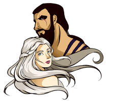 Khal Drogo and Khaleesi by Rach-art