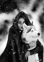 Girl with a wolf by miss-alchemist