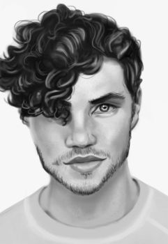 Man Portrait Black and White by SaraHeartArt