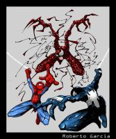 spiderman vs venom vs carnage by robseyes