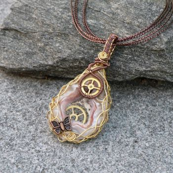 Lepidoptera Steampunk Geode Pendant by magpie-poet