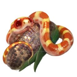 Red corn snake by Silce-Wolf