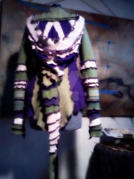 Green and Purple Pixie Sweater by designsbyandrea