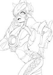 Overwatch - Tracer Lineart by FreezingCicada