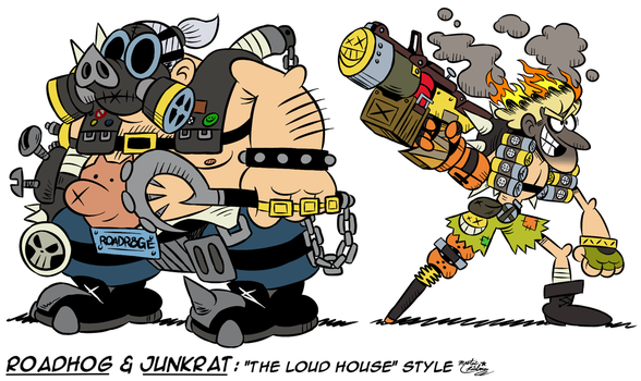 [MM] ''LOUD HOUSE'' Style: Roadhog and Junkrat by Master-Rainbow