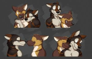 Commission: Storm and Hero's Expression Sheet by Temiree