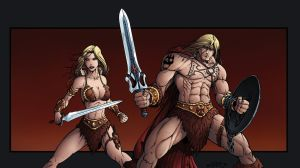 He-Man and Battleground Teela Redesign by Killersha