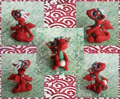 Red Christmas Dragon by BittyBiteyOnes