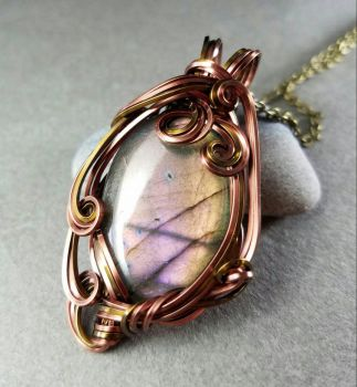 The Enchanted Mirror Pink Labradorite Pendant   by sojourncuriosities