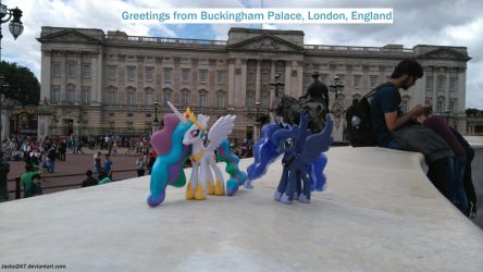 Celestia and Luna at Buckingham Palace by Jacko247