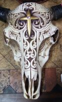 Decorated Cow Skull by FionnaCoolGirl