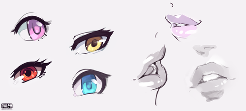 Eyes and Lips Doodles by owlerart