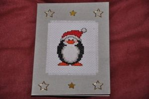 Penguin Xmas Card by VickitoriaEmbroidery