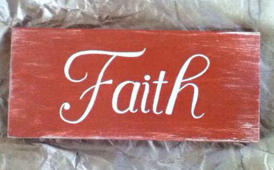 Distressed Faith Hand Painted Sign, Red Rustic by KarenNicole97