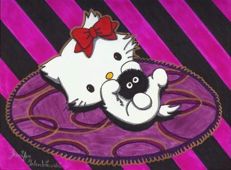 Hello Kitty with Soot Sprite by jengolem