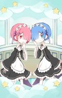 Rem and Ram by watermelan