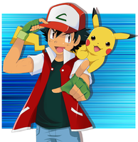 Ash and Pikachu by SkyDrew