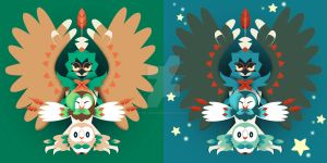 Rowlet Evolution + Shiny by Mockingbyrd