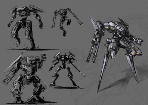 some quick mecha drawings by randis