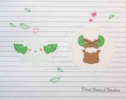 Cottonee/Whimsicott Stickers and Magnets by pixelboundstudios