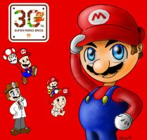 Super Mario 30th Anniversary by Dee-Artist