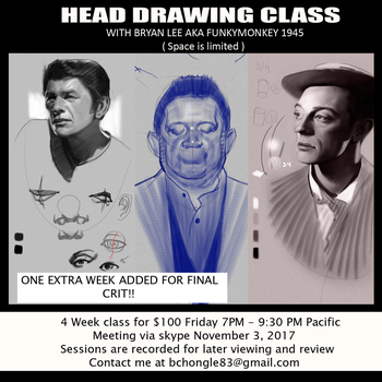 Head Drawing Class Flyer 2 by FUNKYMONKEY1945