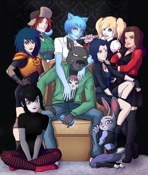 Wolf and Girls commission ver. 2.0 by shamserg