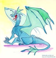 Blue Dragon watercolor by kiki-doodle