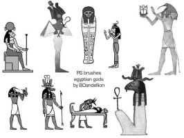 egyptian brushes gods by dandellionstock