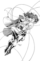 Superman and Wonder Woman - Inks by J-Skipper