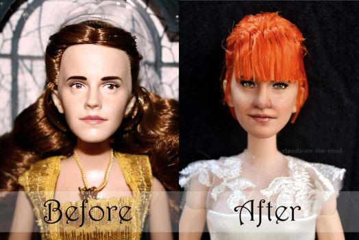 Hayley Williams Wedding Doll Repaint|Before-After2 by claude-on-the-road