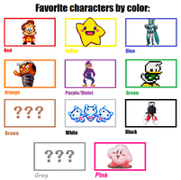 My favorite characters by color by SuperStarfy2002