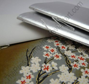 Faux leather silver small notebooks - set of 3 by ThePressGang-ink