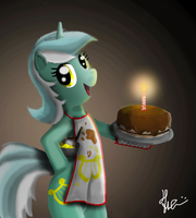 Lyra and the cake by Bronyontheway