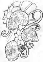 Mexican Sugar Skull Sleeve by filly4585