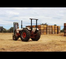 Tractor and apple bins by laminimouse