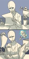 How Gaster takes care of baby Sans by Julyleaf