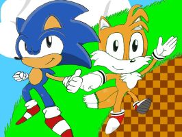 Classic Sonic and Tails by Emcai