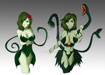 Biollante Kaiju Girl Rose 1st form and 2nd form by TSURUGIKNIGHT