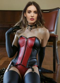 Alison Brie in kinky leather corset by liarsandwaffles