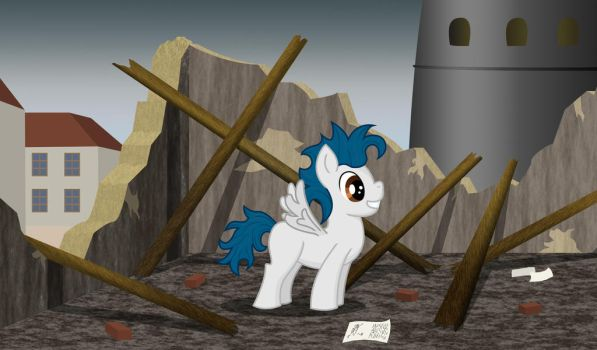 Little Mane in the ruins of Sturm's laboratory by Malte279