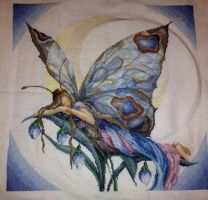 Night Butterfly Fairy Cross Stitch by Queen-Rini